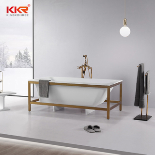 Rectangle Bathtub Resin Stone Acrylic Solid Surface Bathroom Freestanding Bathtubs