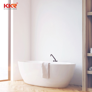 Modern Design Solid Surface Tubs Matte White Faux Stone Bathtub Free Standing Bathtub Acrylic KKR-B003