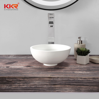Round Small Size white Solid Surface Wash Basin for Bathroom