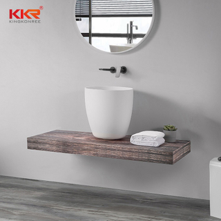 White Thin Edge Round Basin Solid Surface Bathroom Sink