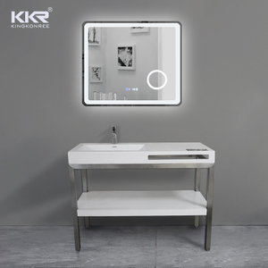 Factory direct solid surface white bathroom vanities with lighted mirror